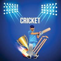sfondo stadio di cricket con sfondo illustrazione di giocatore di cricket vettore
