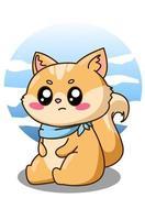 illustrazione di cartone animato piccolo gatto felice e divertente vettore