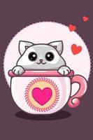 gatto kawaii nella tazza nell'illustrazione del fumetto di San Valentino vettore