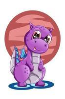 un simpatico baby drago viola animale fumetto illustrazione vettore