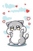 un gatto carino e felice con illustrazione di cartone animato di cuori vettore