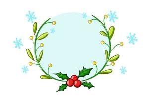 una corona di agrifoglio a tema natalizio con illustrazione di cristalli blu vettore