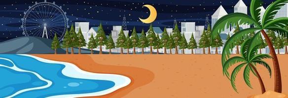 scena orizzontale della spiaggia di notte con lo sfondo della città vettore