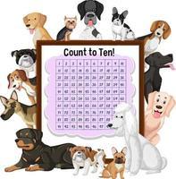 contando il numero 1-100 a bordo con molti simpatici cani vettore