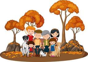 famiglia felice nel parco con molti alberi autunnali vettore