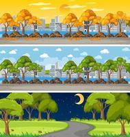 set di scene orizzontali di natura diversa vettore