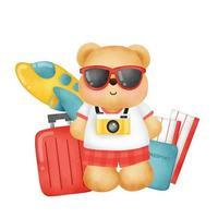 concetto di viaggio acquerello con simpatico orso vettore