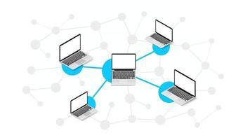 schema astratto della moderna rete di computer. illustrazione vettoriale isometrica