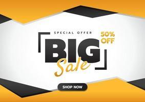 banner di grande vendita con il pulsante Acquista ora, offerta speciale 50 per cento di sconto sul modello di banner web design, illustrazione vettoriale