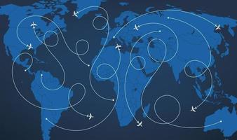 mappa del mondo con illustrazione vettoriale corsi di aeromobili