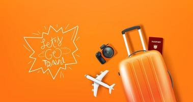 illustrazione di viaggio con bagagli e logo vettore