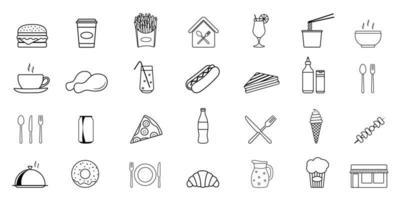 set di icone di tribunali di cibo vettore