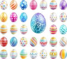 le uova di Pasqua hanno impostato il colore con texture diverse e modelli. illustrazioni vettoriali. vettore