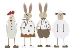 caratteri pasquali scandinavi in colori neutri. coniglietto, pecora, gallo. illustrazione di Pasqua di vettore per la vostra decorazione.