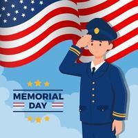 giovane ufficiale maschio che saluta durante il memorial day vettore