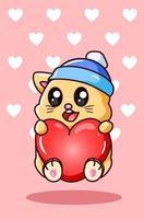 kawaii e gatto divertente con amore nell'illustrazione del fumetto di San Valentino vettore