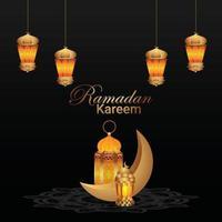 biglietto di auguri islamico di ramadan kareem e sfondo con lanterna dorata vettore