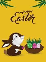 poster piatto felice giorno di pasqua con coniglietto di pasqua e nido d'uovo vettore