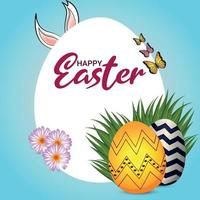 priorità bassa di celebrazione del giorno di Pasqua con l'uovo di Pasqua e il coniglietto di Pasqua vettore