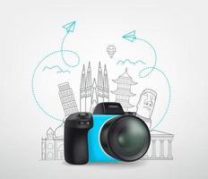 concetto di viaggio per il mondo con fotocamera digitale e scarabocchi elementi vettore