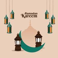 design piatto con lanterna araba per ramadan kareem o eidfitr vettore