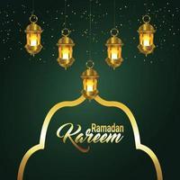 sfondo di celebrazione di ramadan kareem o eid mubarak con lanterna dorata araba vettore
