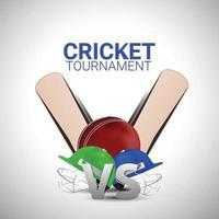 sfondo del campionato di cricket con attrezzatura da cricket creativa vettore