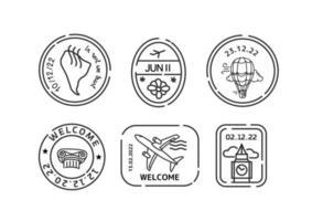 concetto di viaggio per il mondo con timbri sui passaporti vettore