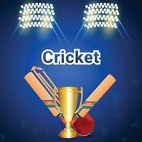 campionato di cricket con sfondo stadio vettore