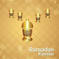 ramadan kareem con lanterna araba e motivo islamico vettore