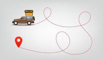viaggiare in auto con bagaglio. illustrazione vettoriale di viaggio estivo