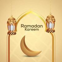 sfondo di ramadan kareem con lanterna araba dorata e luna vettore