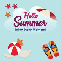 fondo dell'illustrazione di vacanza estiva con pallone da spiaggia, pantofola e palma vettore