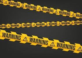 nastro giallo e nero con scritta di avvertimento vettore