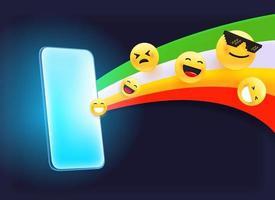 smartphone moderno con arcobaleno ed emoji vettore