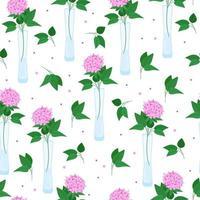 motivo floreale senza soluzione di continuità con ortensie. fiori in vasi di diverse forme, bellissimi fiori, vasi minimalisti di vetro, illustrazione vettoriale in stile piano.
