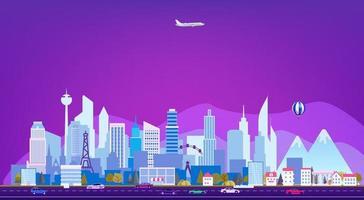 paesaggio urbano con grattacieli e traffico stradale vettore