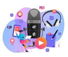 illustrazioni vettoriali concept design canale podcast. il lavoro di squadra fa podcasting.studio microfono da tavolo trasmette persone. icona della radio podcast.