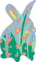 sagoma di coniglio in piedi illustrato con fiori ed erba. illustrazione piana del coniglietto di pasqua vettore