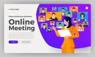 illustrazioni video conferenza di design piatto concetto. riunione di lavoro online da casa. chiamata e video in diretta. vettore illustrano.