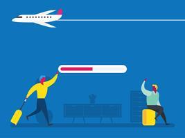Persone con bagagli in aeroporto vettore