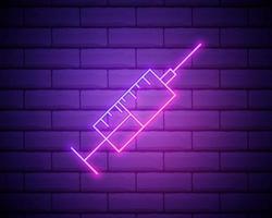 droga, iniezione, icona di vettore medico. icona di vettore al neon in stile retrò. icona di vettore sulla priorità bassa del muro di mattoni