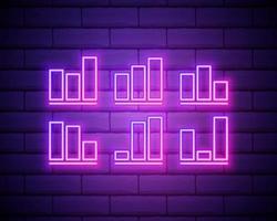 Linea al neon incandescente grafico a torta icona infografica isolato su sfondo muro di mattoni. segno grafico diagramma. illustrazione vettoriale