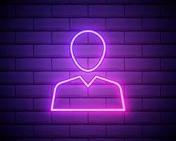 avatar, profilo neon rosa icona .fondo muro di mattoni. icona di vettore al neon rosa.