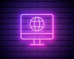 pc nell'icona al neon di rete. elementi del set di reti multimediali sosiali. icona semplice per siti Web, web design, app mobile, grafica di informazioni isolata sul muro di mattoni vettore