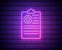 storia medica o relazione. carta e croce medica. stile neon. icona di decorazione leggera. simbolo elettrico luminoso isolato sul muro di mattoni vettore
