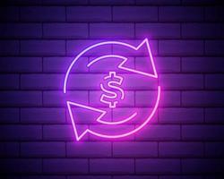 luce al neon. icona della linea di servizio di cashback. segno di trasferimento di denaro. simbolo della freccia di rotazione. disegno grafico incandescente. muro di mattoni. vettore