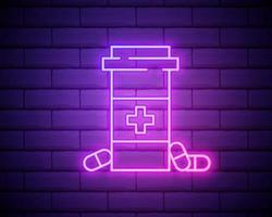 Linea al neon incandescente medicina bottiglia e icona di pillole isolato su sfondo muro di mattoni. segno della pillola della bottiglia. progettazione di farmacie. illustrazione vettoriale