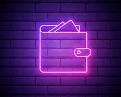 portafoglio con insegna al neon di denaro. denaro, finanza e concetto bancario. progettazione della pubblicità. insegna al neon luminosa notturna, cartellone colorato, banner luminoso. illustrazione vettoriale in stile neon isolato sul muro di mattoni
