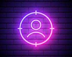 neon incandescente marketing target strategia concetto icona isolato su sfondo muro di mattoni. mirare con il segno della gente. illustrazione vettoriale